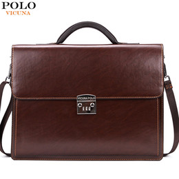 Wholesale Briefcases Lock - Wholesale- VICUNA POLO Luxury Famous Brand Password Lock Leather Bag Men Briefcase Business Office Bag Leather maleta Large Man portfolio