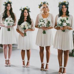 Wholesale gold bat - Hot Selling Cheap 2017 Summer Flow Chiffon Short Beach Bridesmaid Dresses Bat Sleeves Boho Wedding Party Dress Under 50