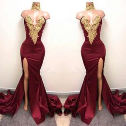 Wholesale Cheap High Neck Prom Dresses - 2017 Sexy Burgundy High Neck Mermaid Prom Dresses Gold Lace Appliques Side Split Evening Dresses Cheap Party Wear BA5998