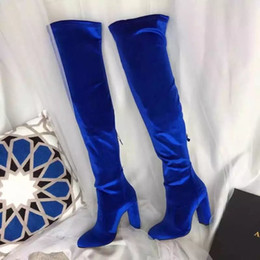 Wholesale Red Leather Over Knee Boots - Fashion Cat walk Counter quality Velent black+blue+wine round toe 10CM over-the-knee long boots
