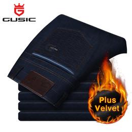 Wholesale Men Jean Trousers - Wholesale-2016 Mens Big Size Jeans Brand Gusic Plus Size Jean Casual Pants Plus Velvet Winter Slim Fit Trousers For Man Size(28-44) 2183WP
