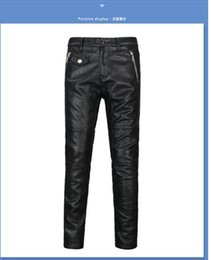 Wholesale Long Faux Leather Pants - Free shipping wholesale 2017 autumn and winter motorcycle men leather pants fashion city 6322 men trousers
