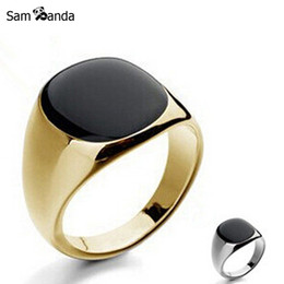 Wholesale Gold Bezel Ring - Wholesale- Size 7-12 Vintage Men Jewelry Stainless Steel Ring Fashion Minimalist Design Plated Gold Black Enamel Mens Rings sa779