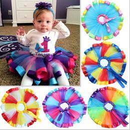 Wholesale Newborn Blouse - NEW Children Rainbow Tutu Dresses Kids Newborn Lace Princess Skirts Pettiskirt Ballet Dancewear Skirt Party Clothing Free Shipping WX-D16