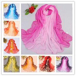 Wholesale Scarves Polyester Purple - Two Tone Scarfs For Women Chiffon Scarves Shawls 15 Colors Christmas Gifts For Ladies DHL Fedex Free