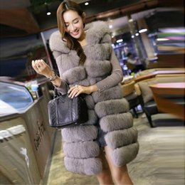 Wholesale New Mink Coats Women - 2017 New Fashion Long Faux Fox Mink Fur Vest With Hooded Women Winter Slims Super Long Fake Fur Vests Fur Coat Female Jackets