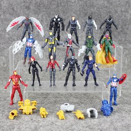 Wholesale Men War - 16 pcs   Lot Marvel Superheroes Avengersr Civil War PVC Figurine Iron Spider-Man Captain America Ant-Man Falcon Model Toy
