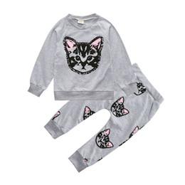 Wholesale Two Piece Coat Dress Girls - 2Pcs Baby Girls Print Cat Coat Long Sleeve Tops + Pants Set Kids Casual Outfits