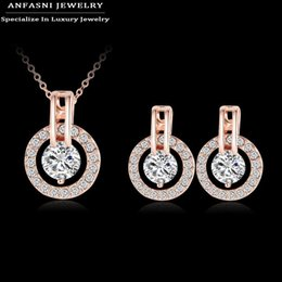 Wholesale Big Fashionable Earrings - Big Promotion 80%Off New Style Fashionable Sets Hot Sale Rose Gold Plated Set Earring Necklack Round Set For Women ST0017-A