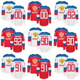 Wholesale custom blank jerseys - Men's Team Russia 2016 World Cup of Hockey Custom Blank Jersey 92 Evgeny Kuznetsov 91 Vladimir Tarasenko 90 Vladislav Namestnikov Hockey