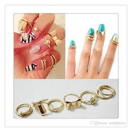Wholesale Hearts Nail Designs - New Fashion Finger Rings 7Pcs Set Vogue Gold Skull Bowknot Heart Design Simple Nail Band Mid Finger Rings Set Nail Ring Free Shipping
