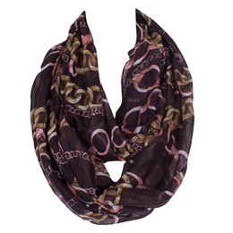 Wholesale United States Scarf - 2017 NEW Europe and the United States Scarf ring neck sets of metal chain printing Ms Bali yarn scarf
