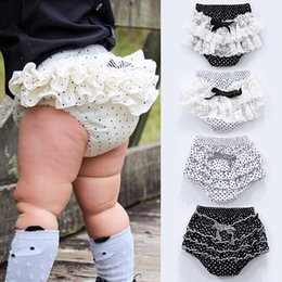 Wholesale Kids Ruffle Pants Wholesale - Baby Bloomers Girls Pettiskirt underwear Panties Toddle Kids Underpants infant newborn ruffled satin PP pants Kids Cloth lace no12