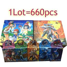Wholesale Model Paper Toy - 660pcs lot New Poke Trading Cards Sun and Moon Model Poke Card for Children Kids Cartoon English Edition Anime Party Board Games Toys
