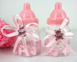 Wholesale Girls Baptism Gifts - Wholesale- Free Shipping 12Pcs Pink Girl Baby Shower Favors Bottle Baptism For Wedding Candy Box Party Marriage Gifts Bottle