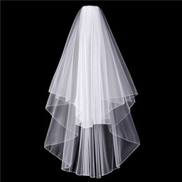 Wholesale Bridal Face Veils - 2017 New Arrival Tow Layers Bridal Veil Wedding Mariage Accessoire Face Veil With Pencil Edge Tulle
