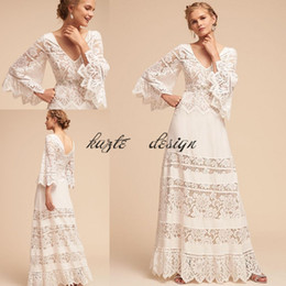 Wholesale Bell Wedding Dresses - Lace Bell Sleeve Country Bohemian Hippie Wedding Dresses 2018 Plus Size V-neck BHLDN Full length Lace Chiffon Wedding Gown