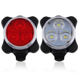 Wholesale led bike front light - Practical Cycling Bicycle Bike 3 LED Head Front Rear Tail light Rechargeable Battery With USB Charging Cable 2 Color Available