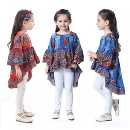 Wholesale Wholesale Peacock Print Dress - Girls INS Dresses Peacock Printed Princess Dress Girl Fairy Printed Summer Flare Sleeves Cotton Dresses Kids Lovely Clothing Skirts J490
