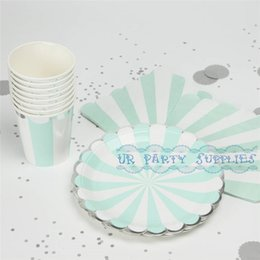 Wholesale Aqua Showers - Wholesale- Free Ship 40 Sets Mint Disposable Party Tableware Foil Silver Paper Plates Aqua Cups Napkins Wedding Baby Shower Party Decor