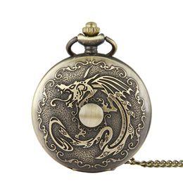 Gran colgante vintage online-Unique Large Dragon Ball vintage Reloj de bolsillo Collares pendientes de bronce Relojes Fob Relojes de cuarzo Hombres Mujeres Joyas Punk Regalos de Navidad