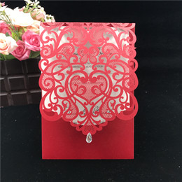 Wholesale Wedding Cards Design Price - Hot Selling new designs Wedding Invitations White,coffee color Hollow Laser Cut Greeting Business invites cards DHL Free Good price cards