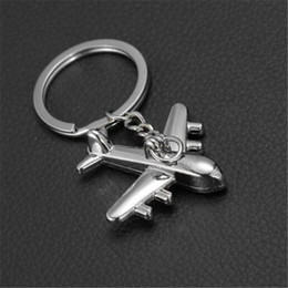 Wholesale Mini Planes Metal - Zinc Alloy Keychains Holder New Plane Keychain Mini Plane Model Key Ring for Men Key Holder Key Chain Charms Airplane Keyring