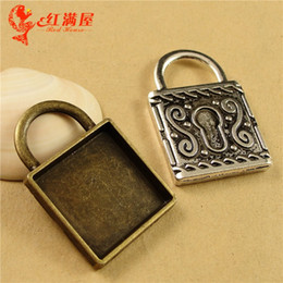 Wholesale Metal Stamping Part - 35*24MM Fit 20MM Vintage Retro lock charm base bottom bracket parts, bezel pendant settings, square metal stamping blanks tray