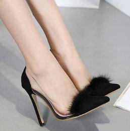 Wholesale Transparent Pointed Heeled Shoes Women - ladies fashion high heels black fur PVC transparent clear patchwork D'orsay pumps size 35 to 40