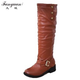 Wholesale Women Fashion Shoes Large Size - Wholesale-2016 Large size 34-43 Fashion sexy Squarew Low heels Pointed Toe Over knee high boots winter autumn women long boots shoes