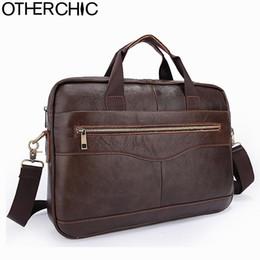 "Wholesale Lawyers Briefcase - Wholesale- OTHERCHIC Men Portfolios Genuine Leather Brand Briefcase 14"" Laptop Business Messenger Bag Crossbody Men Lawyer Handbags 7N05-39"