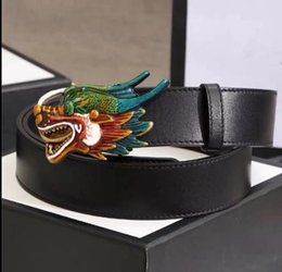 Wholesale Real Dragons - New Belt Dragon G Chain Buckle Men Designer Belts Luxury Style Brand waistbands High Quality Real Leather Belt