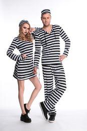 Wholesale Female Couples Costumes - Halloween Prison Uniform Costume For Adults Women& Men Couples Prison Uniform Streak Costume Halloween Cosplay Party Clothing Wholesale