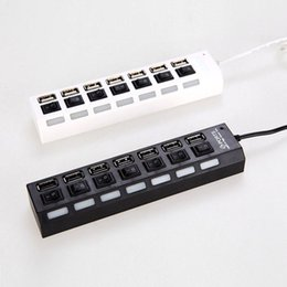 Wholesale Multi Power Port - 7 Ports USB Hub Laptop 7 Ports USB Adapter With Power on off Switch For PC Laptop Computer Universal 7-Port USB 2.0 Multi Charger Hub