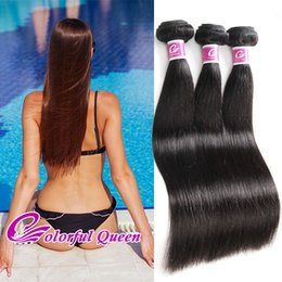Wholesale Indian Hair Silky Weave - Virgin Peruvian Human Hair 3 Pcs Straight Hair Weave Bundles 300g Grade 7A Brazilian Malaysian Indian Virgin Silky Straight Hair Extension