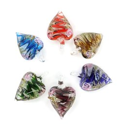 Wholesale Fashion Murano Glass Pendant - Fashion Heart Murano Lampwork Glass Pendants Handmade Pendants for Necklace Making In Bulk 12pcs pack MC0096