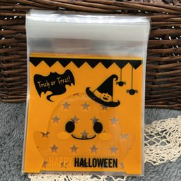 Wholesale Plastic Halloween Candy - Wholesale-100Pcs Halloween Yellow pumpkin Gifts Bags Plastic Clear DIY Candy Cookies Birthday Party Craft Bags Packaging Bags