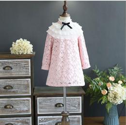 Wholesale Crochet Flower Dress Girls - Girls Crochet Lace Flower Dresses Baby Girl Princess Bow Dress Kids Girls Hallow Out Party Dress 2017 Baby Autumn Clothing