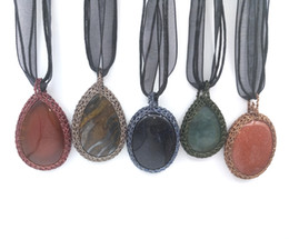 Wholesale Wholesale Silk Thread - JLN Thread Wrapped Stone Pendant Tiger Eye Gold Sand Lapis Moss agate Handmade Necklace With Silk Ribbon