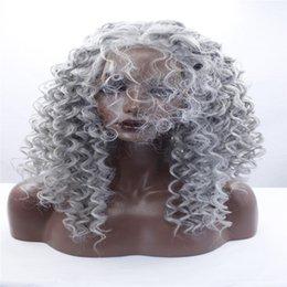 2019 парик шнурка смешанной длины Новые женщины длинные ломбер черный серый микс кружева перед парик жаропрочных волос волнистые парики синтетические кружева перед парик смешанный цвет волос длина волос дешево парик шнурка смешанной длины