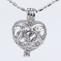 Wholesale cage rings - 5pcs silver plated olympic rings heart shape cage pendant 15*11*22mm