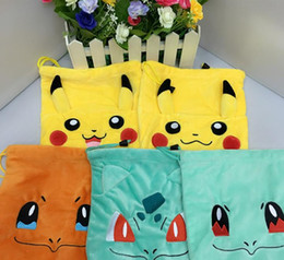 Wholesale Anime Ship Free - Hot 5 styles Anime Poke Pikachu Squirtle Bulbasaur Plush Soft Drawstring Bags Toy for kids gift free shipping