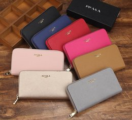 Wholesale Discount Fashion Handbag - 2017 New Multi-color women's wallet fashion zipper hand purse leather brand promotional discount new original packaging long wallet handbags