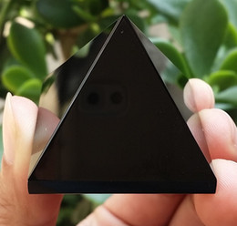 Wholesale Quartz Crystal Carvings - 50-60g 1pcs NATURAL Obsidian quartz crystal Pyramid healing AAA