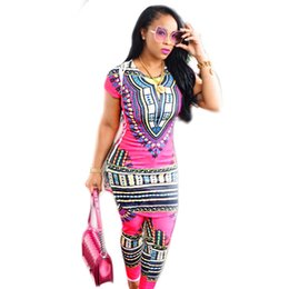 Wholesale Ladies Short Dresses Skinny - 2017 New African Style Two Pieces Women Jumpsuits Short Sleeve O Neck Top Long Skinny Pants Ladies Romper