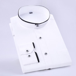 Wholesale Wholesale Business Shirts - Wholesale- Summer 2017 Men's Banded Collar Shirt with Black Piping Long Sleeve Slim-Fit Solid Color Mens Business Lightwight Dress Shirts