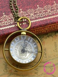 Wholesale Crystal Glass Pocket Watch - Wholesale-wholesale buyer price good quality new bronze brass material spinning glass crystal ball quartz pocket watch necklace
