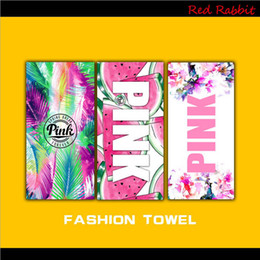 Wholesale Pink Letter Beach Towel Sweat Fitness Sports Towel VS Yoga SPA Towel Flower Fruit Swimwear Home Bathroom Towels Outdoor Towels