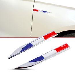 Wholesale France Decal - 2X Universal Car Exterior Parts Door Fender 3D Sticker Decal Blade Shape France FR Flag Emblem Badge Logo Accessories
