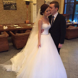 Wholesale Imported Wedding Dresses China - Sheer Neck Ball Gown Chinese Wedding Dress Sexy New 2017 Tulle Gelinlik China Bridal Gowns Country Western Imported Wedding Gown